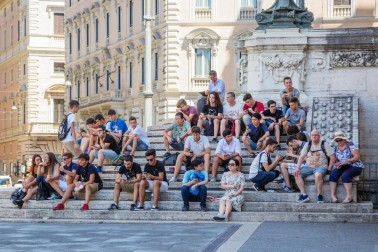People meet to play Pokemon Go in Rome, Italy.